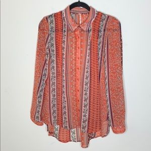 Free People Button Down Printed Blouse